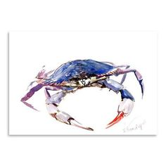 size: Stretched Canvas Print: Blue Crab by Suren Nersisyan : Using advanced technology, we print the image directly onto canvas, stretch it onto support bars, and finish it with hand-painted edges and a protective coating. Crab Painting, Painting Edges, Painting Prints, Art Prints, Paintings, Crab Art, Whale Art, Stretched Canvas Prints, Find Art