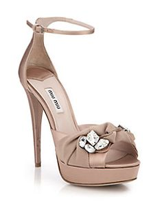 Miu Miu - Crystal & Ribbon-Embellished Satin Sandals