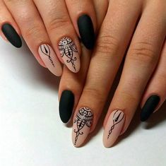 Black and beige nails Black dress nails Evening dress nails Evening nails Gel polish on the nails oval Halloween nails Henna nails Nails with artistic painting Nail Art Design Gallery, Best Nail Art Designs, Dark Nail Designs, Almond Nails Designs, Latest Nail Art, Trendy Nail Art, Beige Nails, Black Nails, Matte Black