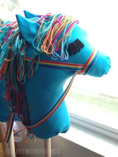 Rainbow Dash stick horse Has instructions for secure stick insertion using Styrofoam ball