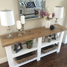 beautiful custom made Console table. Made by Rustic Valley.