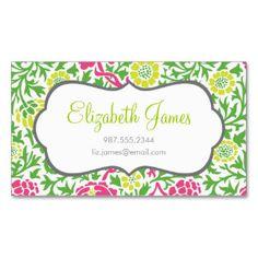 Damasco floral retro del verde y del rosa tarjetas de visita