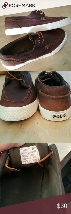 RALPH LAUREN DOCK SHOES Mens size 8.5 woman's size 10. Brown leather with white sole. GREAT CONDITION, worn very few times. Ralph Lauren Shoes Flats & Loafers