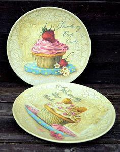 """Комплект тарелок-панно""""Пирожные"""" d-23см. - панно,тарелка,картина,пирожное"""