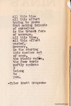 Typewriter Series #285 by Tyler Knott Gregson ~ One of the coolest and best things I have EVER read!!