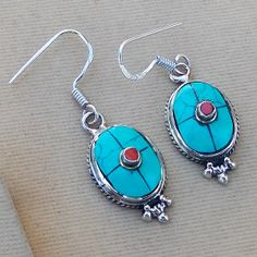 Best Gift Turquoise & Red Coral Gemstone 925 by silverstudio2014, $19.79