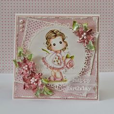 Hi Magnolia fans! This is Tilda with Big Big Rose from the Pink Lemonade Collection, colored with. Diy Cards Making, Handmade Card Making, Scrapbooking, Scrapbook Cards, Magnolia Design, Step Cards, Paper Smooches, Marianne Design, Marker Art