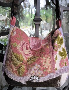 Vintage Needlepoint Roses Velvet Chenille and by LadidaHandbags ♡♡
