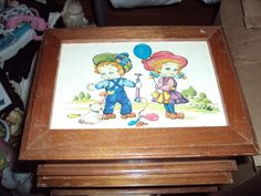 Wooden Vintage Childrens jewelry box cute little boy and girl scene