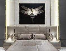 Beloved Large luxury Italian bed shown in upholstered leather with golden lacquered finish. Finishes available: golden, bronzed, nickel lacquered steel. Beloved is available in various sizes. Modern Luxury Bedroom, Luxurious Bedrooms, Bedroom Bed Design, Bedroom Decor, Design Suites, Design Moderne, Bed Furniture, Luxury Bedding, Mid-century Modern