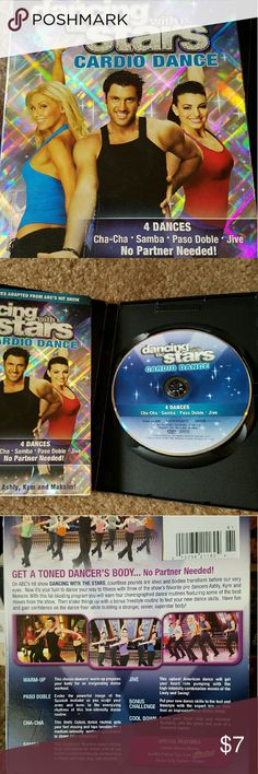 Exercise Dance DVD Dancing with the Stars exercise video.  Dances include Cha Cha Paso Doble Jive Samba A little too advanced for me...had to try Yoga 😆 Other