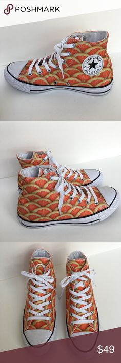 New Converse fruit slice print high top Brand new. Unisex sizing women 8, Men 6.  Quench your summer style with the Converse® Chuck Taylor® All Star® Fruit Slices Graphic Hi! Durable printed canvas Hi-top silhouette. Traditional lace-up closure with metallic eyelets for a secure fit. Canvas lining. Cushioned footbed for all-day comfort. Signature Chuck Taylor design includes the famous rubber cap toe, textured toe bumper, contrast sidewall trim, and medial-side air vent holes. Classic…