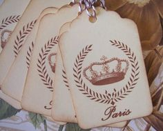 Tags Crown Wreath Vintage Style Paris Gift Tags or by bljgraves, $4.00