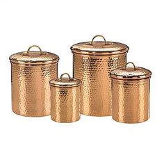 Hammered copper canister set.