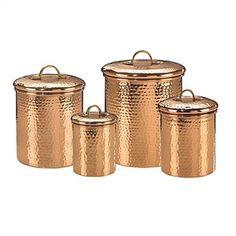 Hammered copper canister set.