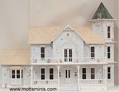 Love shape, looks better with siding and different railings.  Lady Kathleen Dollhouse by Celerity Miniature Homes