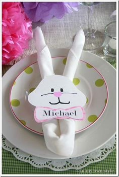 Adorable! 1 dozen White cloth napkins online costs $7, the bunny pieces are just simple and made out of regular printer paper. These would be great for Easter or even a birthday party in March or April for kids who love spring and spring time animals.