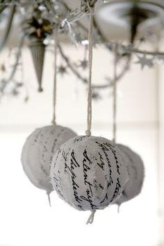 Christmas hymn ragball ornaments - White-Silver (set of 3). $25.00, via Etsy.