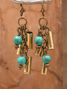 Bullet Casing Jewelry - Triple 22 Caliber Brass Bullet Casings with Turquoise Leverback Dangle Earrings - December Birthstone Ammo Jewelry, Metal Jewelry, Jewelry Crafts, Antique Jewelry, Beaded Jewelry, Handmade Jewelry, Antique Brass, Jewellery Box, Jewelry Art