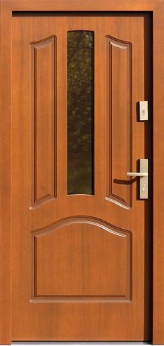 Drzwi zewnętrzne drewniane z szybą  model 540,2s w kolorze ciemny dąb