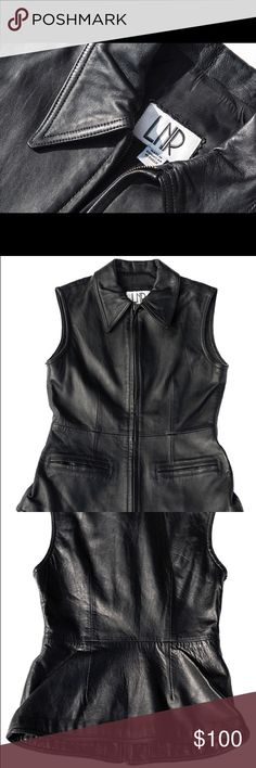 """LNR Black leather vest. Pre-owned black leather collared vest in good condition. 17.5"""" from underarm to underarm and 24.5"""" tall. LNR Jackets & Coats Vests"""