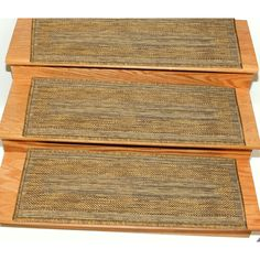 Ottomanson Jardin Collection Jute Back Indoor/Outdoor 9-inch x 26-inch Carpet Stair Treads (Case of 14) (Brown / Border), Size 2' x 2'