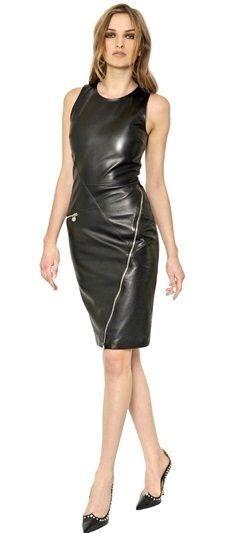 Versace Zipped Lambskin Leather Dress