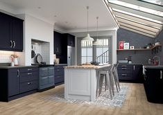 Mason shaker style replacement kitchen doors Finished in Serica Indigo and Light Grey