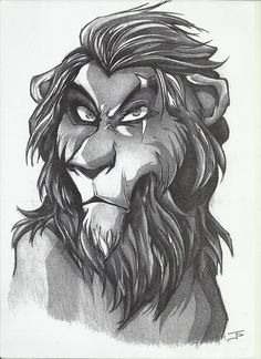 Draw Lions Scar Lion King - pencil sketch by John Papadogeorgos Lion King Story, Lion King Fan Art, Lion King Movie, Disney Lion King, Disney Sketches, Disney Drawings, Cartoon Drawings, Animal Drawings, Cool Drawings