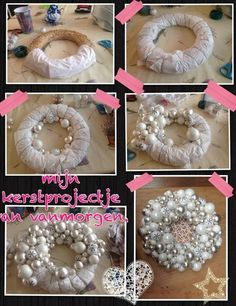 DIY Christmas Wreath using straw wreath, various sizes of silver and white balls and bells.nice idea - home decorationsHow to make a bobble wreath Rose Gold Christmas Decorations, Pink Christmas, Homemade Christmas, Xmas Decorations, Simple Christmas, Christmas Holidays, Christmas Ornament Wreath, Holiday Wreaths, Snowman Wreath