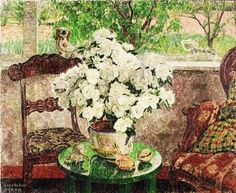 ❀ Blooming Brushwork ❀ - garden and still life flower paintings - Leon de Smet | Interior with White Azalea