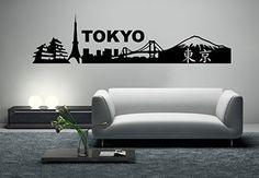 Tokyo Skyline Wall Decal - Vinyl Home Decor $30