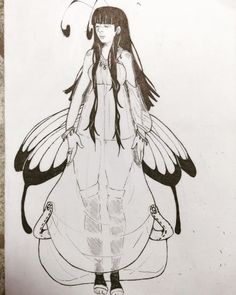 Charcacter for a project :3 #butterfly #wings #cutegirl #blackhair #longhair #butterflygirl #butterflywings #monstergirl #drawing #ink #blackandwhite