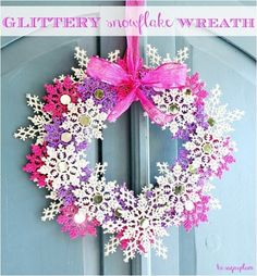 glitter snowflake wreath! Love this! I'm going to try making it with different colors, like dark blues and light blues with the white