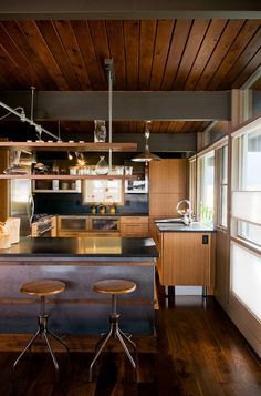 Retro modern cabin kitchen with a down homeearthy feel. Sourdough Home by Pearson Design Group