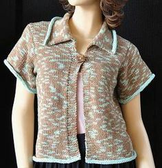 Free Knitting Pattern Short Jacket : Boxy Jacket, W0004 - Free Pattern knit womens short-sleeved cardigans/...