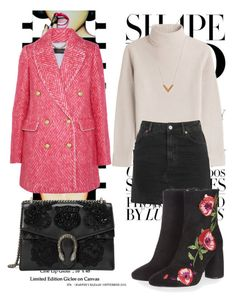 """""""#87 pink tweed coat"""" by ruby-darke ❤ liked on Polyvore featuring Anja, J.Crew, Vanessa Seward, Topshop, Louis Vuitton and Gucci"""