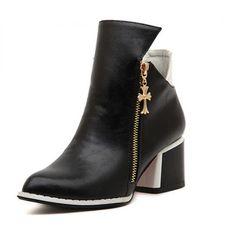 #Monochrome #HighHeel #CrossZip #AnkleBoots £34.99 @ ShanghaiTrends.co.uk  /  http://shanghaitrends.co.uk/monochrome-high-heel-cross-zip-ankle-boots