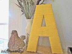Customizable Yarn Letter Yellow A by 8thStreetBridge on Etsy, $16.00