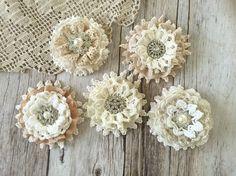 ÚLTIMOS 5 X shabby chic encaje flores hechas a mano