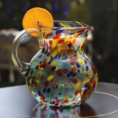 Fiesta Multicolor Everyday Tableware or Hostess Gift Unique Handblown Classic Round Confetti Glass Pitcher (Mexico), Clear, Size 8 Inches
