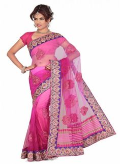 Butta Magenta & Pink Color Based Patch #Embroidered_Saree
