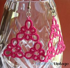 Pink Triangle Tatted Earrings. $18.00, via Etsy.