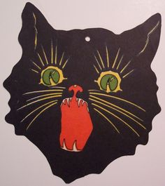 Vintage Halloween Cut Out, Cat Head (via riptheskull)