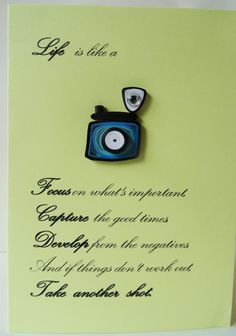 Handmade Quilling card, life is like a Camera, unique gift for anyone, especially for men or photographer, quilling paper, quilling art by Hiquilling on Etsy