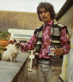 george, vest, cat, paintcan