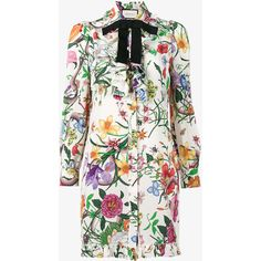 Gucci Flora snake print long shirt (48 220 UAH) ❤ liked on Polyvore featuring dresses, shirt dress, colorful dresses, white floral print dress, long sleeve dress and floral shirt dresses