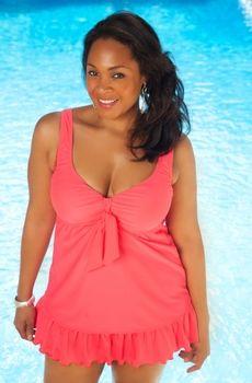 Women's Plus Size Swimwear - Always For Me Chic Solids Berkeley Swimdress - Style #81226wa - Sizes 16W-26W - JUST ARRIVED