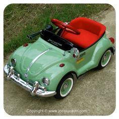 Avocado green color Classic Volkswaken beetle pedal car custom handmade top class full option for kid or Decorate