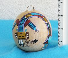 Southwestern Hand-painted Gourd Christmas Ornament with